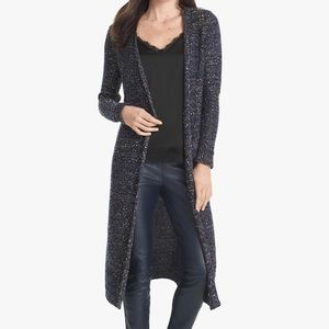 WHBM Sequin Open Duster Cardigan Sweater